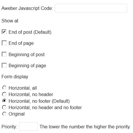 simple aweber integration settings1 Simple Aweber Integration to WordPress | Horizontal Aweber Forms at end of posts