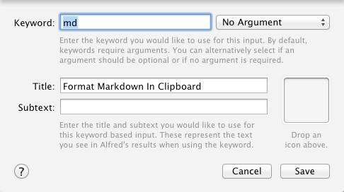 Schurpf Markdown Alfred Workflow Keyword