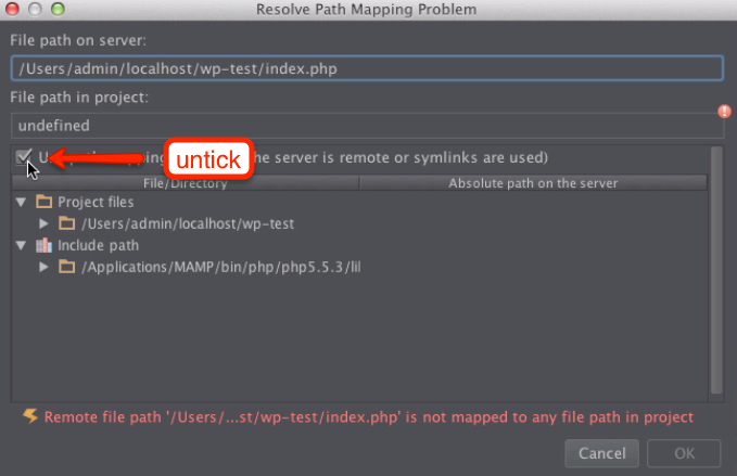 PhpStorm fix mapping